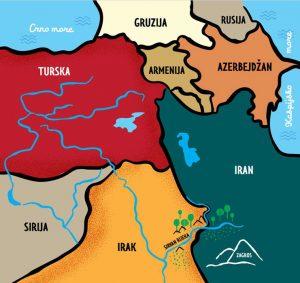 Zemljopisna karta iz knjige Djeca Kurdistana